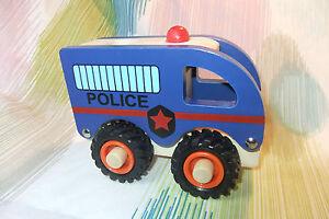 Kaper Kidz FUN Wooden Police Car with Rubber Wheels Children Toy Trucks!