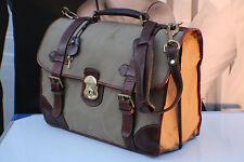 HOLLAND SPORT Vintage Leather & Canvas Briefcase MULHOLLAND Carry-On Bag Mens