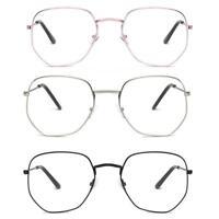 Women Men Oversize Metal Spectacle Optical Frame Clear Lens Square Eye Glasses