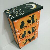 Vintage style Halloween wooden Jewelry trinket Box,Black cat, moon, stars spooky