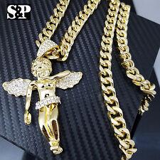 "Gold PT CZ Big Baby Angel Pendant w/ 10mm 30"" Cuban Heavy Chain Hip Hop Necklace"