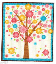 "3"" Colorful Owl Bird Tree Branch Pastel Nursery Animal Fabric Applique Iron On"