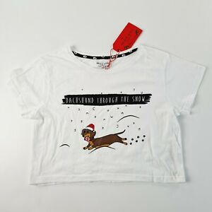 BRAVE SOUL London Womens White Dachshund Christmas Crop Top Size Small