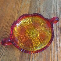 Vtg Amberina Glass candy dish daisies buttons pattern 2 handles heavy well made