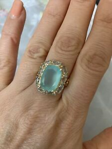 14K Gold Plated 925 Sterling Silver Genuine Gemstone Ring. Size 8. NWT!