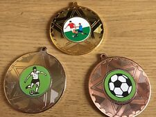 3 x FOOTBALL MEDALS (50mm) GOLD,SILVER & BRONZE-FREE ENGRAVING,CENTRES & RIBBONS