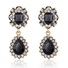 Vintage Style Black Pear stone Gold tone  Designed Drop Stud Earrings E1308