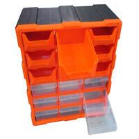 18 Drawer Double Storage Cabinet Multi Unit Box Workshop Handy Crafts Organizer