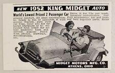 1952 Print Ad King Midget Auto 2 Passenger Cars Midget Motors Athens,Ohio