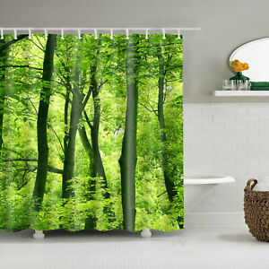 """71x71"""" Spring Green Trees Forest Shower Curtain Bedroom Decor Waterproof Fabric"""