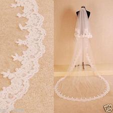 Elegant White/Ivory Lace 3M Long Cathedral Bridal Wedding Veil Custom