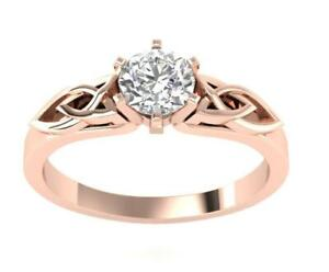 I1 H 0.51 Carat Natural Diamond Solitaire Engagement Ring 14K Rose Gold RS 6-10