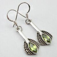 """Peridot Pierced Earrings 1.7"""" Fancy Women Jewelery 925 Pure Sterling Silver"""