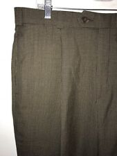 Slates Dress Pants Size 35x31 Brown Taupe Check Pleated Cuffed
