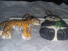 Fabric animal Ornament Set 4 New Tree year round panda tiger elephant gorilla