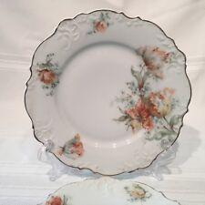 "Antique Hermann Ohme Elysee Plates Rare # OHM 65 Tulips Rust/Green set/2  7 1/2"""