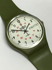 Very Rare Vintage Swatch Watch GG701 1983 Blister Pack Green Seven Holes Bands