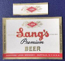 Irtp Lang's Premium Beer Label. Gerhard Lang Brewery. Buffalo, New York,