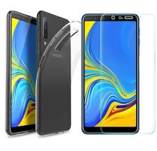 for Samsung Galaxy A7 (2018) Case Clear Slim GEL Cover & Glass Screen Protector