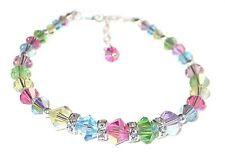 Pink Blue Green PASTEL MIX Crystal Bracelet Sterling Silver Swarovski Elements