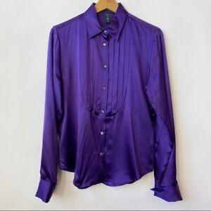 Lauren Ralph Lauren Purple Pleated Silk Button-up Shirt Women's Size Medium