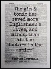 Gin Winston Churchill Quote Vintage Dictionary Page Print Picture Wall Art Tonic