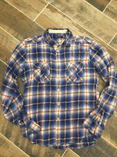 Zara Young Medium Flannel Plaid 100% Cotton Blue Long Sleeve Teens Men's  Shirt