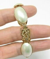 14K YELLOW GOLD MABE PEARL BRACELET 19.8gr 17mm 7 inches