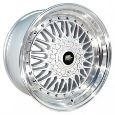 MST Wheels MT13 Rims 15x8 4x100 4x114.3 +20 Offset Silver w/Stepped Polished Lip