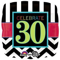 CELEBRATE 30 FOIL BALLOON BIRTHDAY PARTY DECORATION CHEVRON 30TH THIRTY