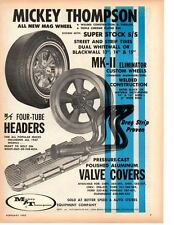 1967 MICKEY THOMPSON TIRES / WHEELS / HEADERS ~  NICE ORIGINAL PRINT AD