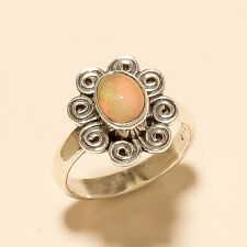 Natural Ethiopian Welo Fire Opal Ring 925 Sterling Silver Engagement Jewelry New