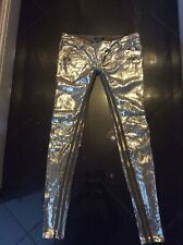 Women's Balmain silver sequins embellished trousers size 38