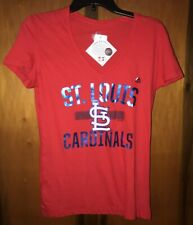 NWT Majestic Women's St Louis Cardinals V-neck T-shirt. Sz Small & Red.