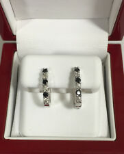 Black & White Diamond Huggie Earrings 0.53ct