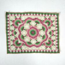 Vtg EMBROIDERED NEEDLEPOINT DOLLHOUSE RUG Artisan Handmade Carpet Petit Point?