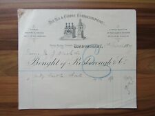 Old antique document receipt - Londonderry - Irish - Tea and Coffee establishmen