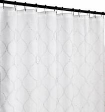Regal Home Fabric Shower Curtain Sheer Embroidered Moroccan Design White/white