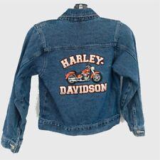 Harley Davidson Unisex Kids Jean Jacket Blue Trucker Button Up Motorcycle 8 10