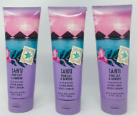 Tahiti Pink Lily & Bamboo Bath & Body Works Ultra Shea Body Cream 8 oz set of 3