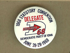 1968 Iowa IA Statutory Convention, Democratic Party Democrat Delegate Pin,Button