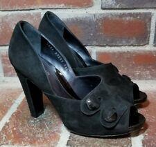 300a2090e041 Sergio Rossi Black Suede Peep Toe Button Pumps - Women s Size 38 1 2(