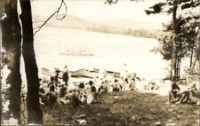 Union ME Alford Camp Canoes & Kids Real Photo Postcard