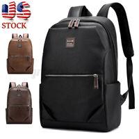 15.6'' Men Leather Backpack School Handbag Laptop Shoulder Bag Travel Rucksack