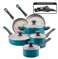 Farberware 16-Piece High Performance Nonstick Pots and Pans/Cookware Set, Teal