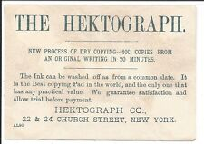 Printing: Trade Card, The Hektograph Dry Copying Process, 1880s