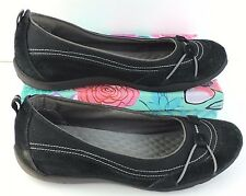 Women's Privo by Clarks 61468 Sz 9M Black Suede Slip on Walking Loafers Shoes C7