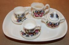 Miniature crown fine bone china vintage jug, bowl and 2 cups & saucers on tray.