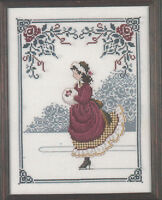 Lavender and Lace WINTER ROSE cross stitch pattern  LL2  girl winter ice skating
