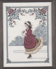 Cross Stitch Chart / Pattern Lavender & Lace Winter Rose Ice Skating Girl #ll2